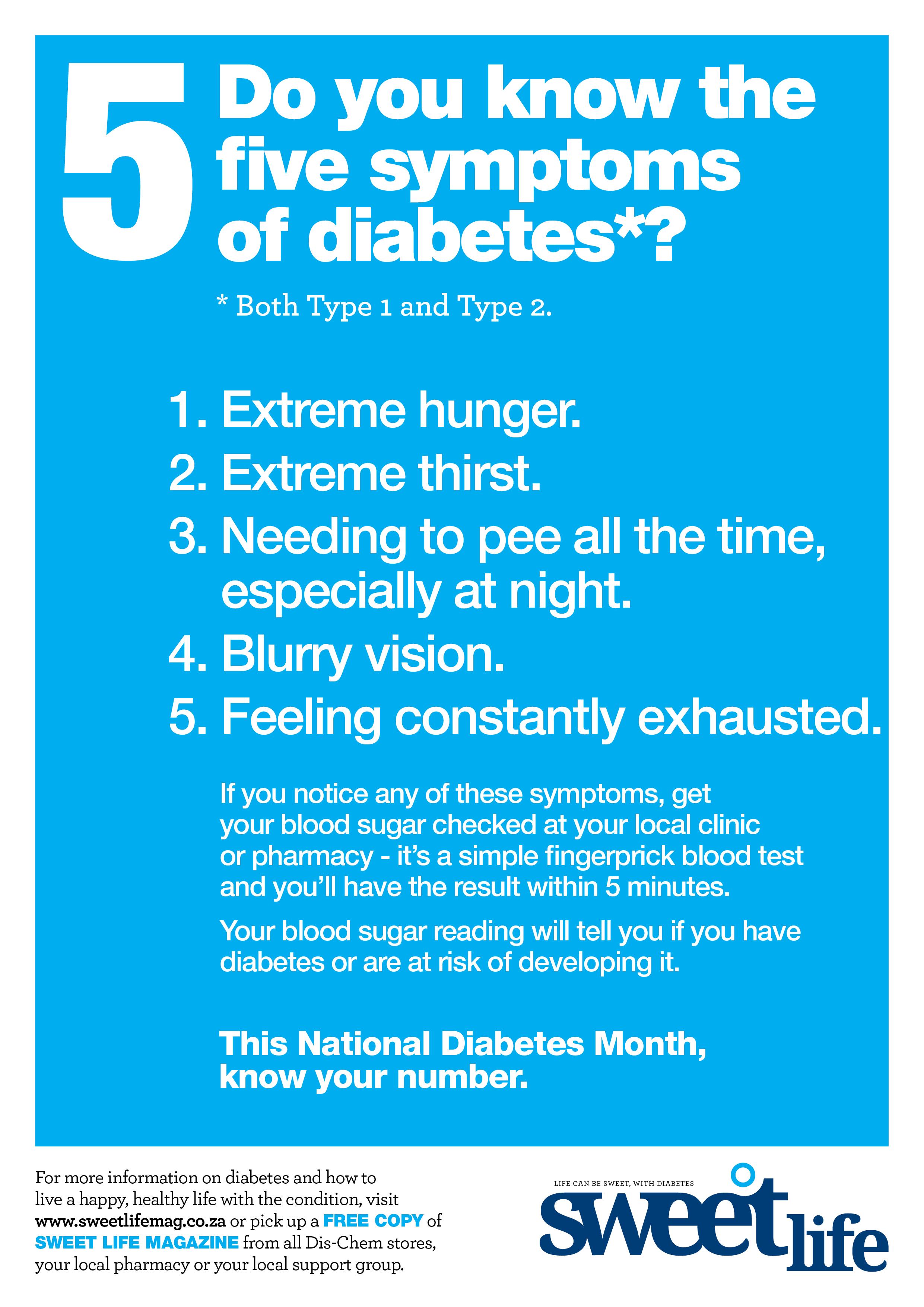 5 Symptoms of diabetes